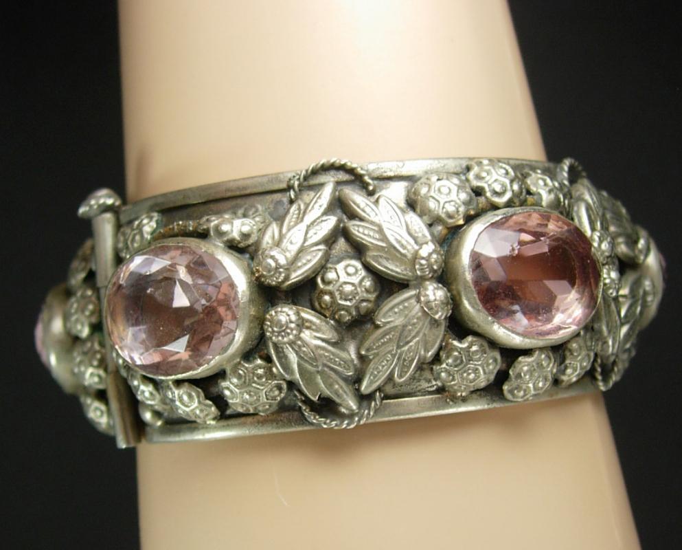 Antique Art Nouveau Bracelet bangle Amethyst glass Gypsy relief silver leaf hinged cuff