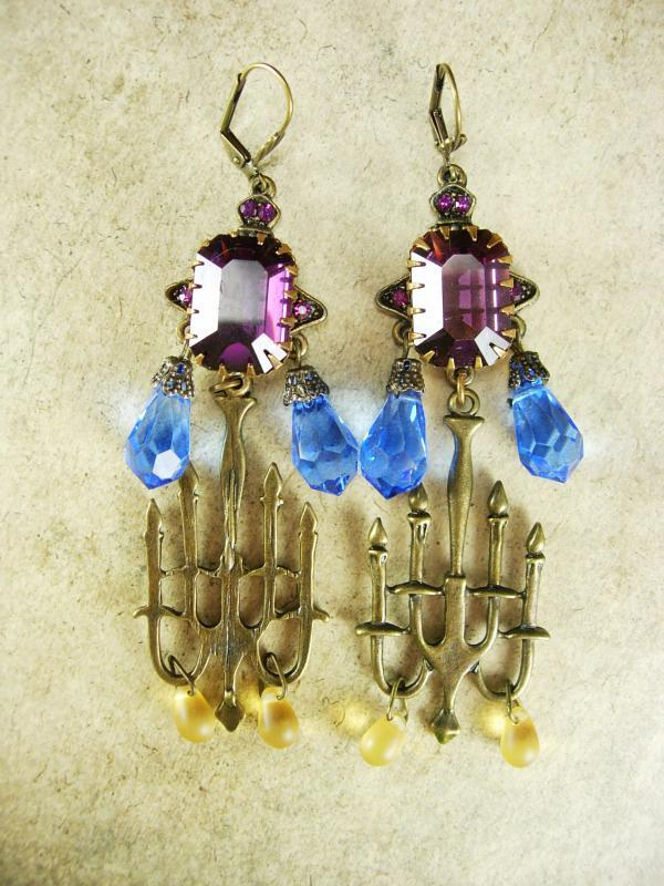GOthic LONG Amethyst glass candelbra spooky kinda girl earrings