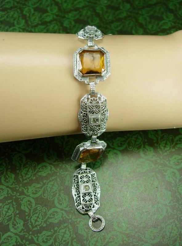 ANtique Art DEco Bracelet golden Citrine or topaz glass stones Filigree and Paste rhinestone silver jewelry