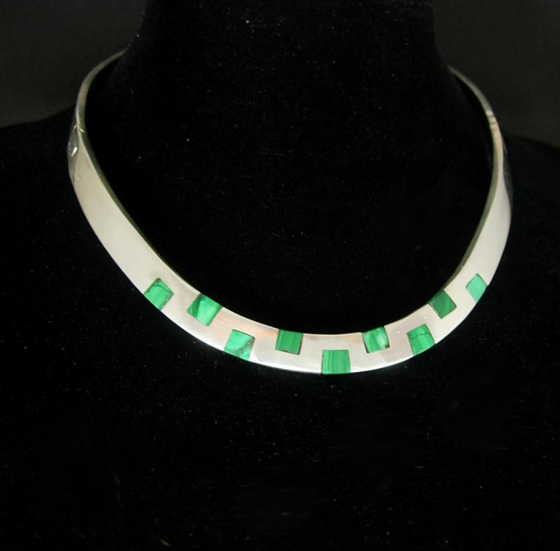 Sterling Malachite collar necklace silver signed Necklace Mexico tn-22 mosaic artisan jewelry HEAVY modernist Spiritual hinged collar