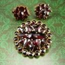 Antique BOHEMIAN GARNET Brooch and earrings  Cluster star brass Red clip on teardop stones vintage Victorian  jewelry set
