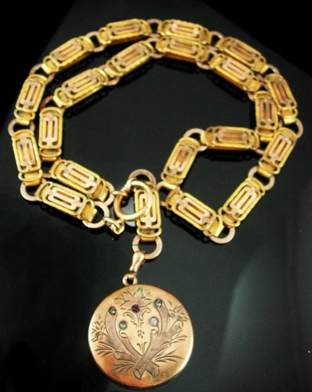 1874 Antique locket GORGEOUS Bookchain rose and yellow gold Victorian necklace Fob charm watch chain Paste estate jewelry heirloom keepsake