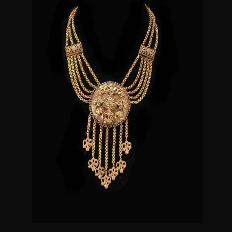 Antique necklace Dramatic Victorian Baroque Vintage fringe tassel Art nouveau flower drops statement jewelry