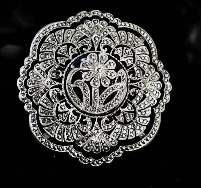 Huge Signed Marcasite brooch sterling silver antique estate heirloom art deco over 500 stones vintage jewelry