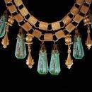 Vintage Egyptian necklace Chandelier earrings Vintage Art DEco Czech Egypt bookchain demi parure