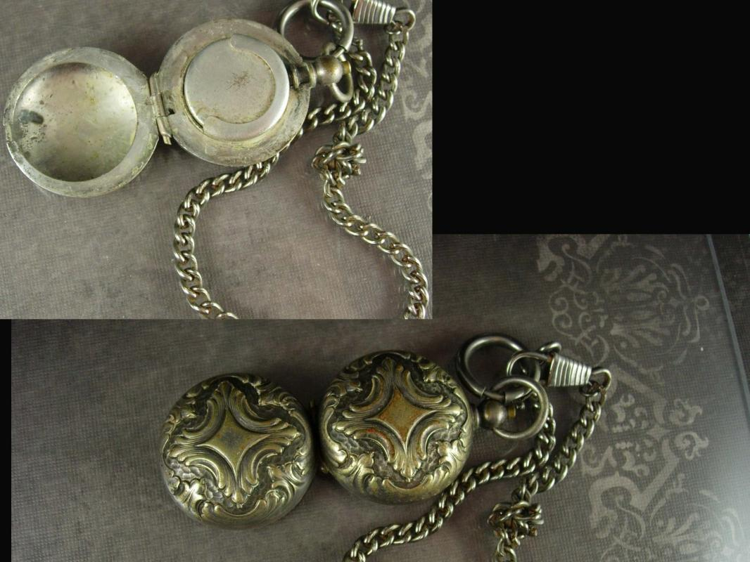 1890's sovereign case ANTIQUE fancy SILVER pocketwatch shape coin holder watch fob and chain