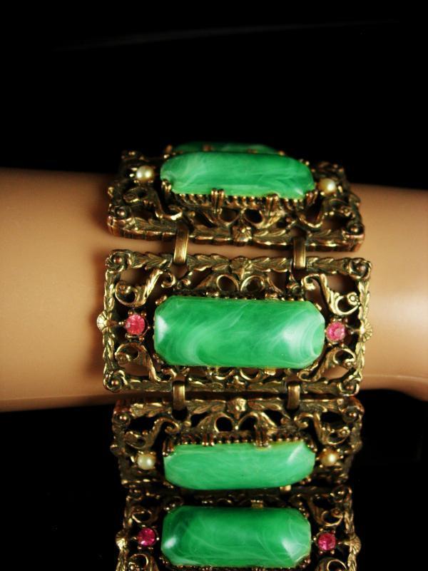 Antique HUGE bracelet Vintage green galalith Big Suffragette Purple rhinestone fancy metal work statement jewelry