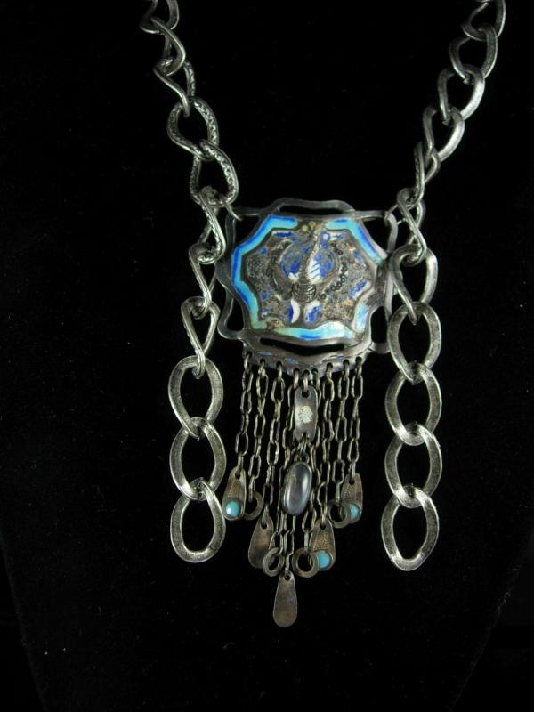 Antique Chinese necklace Enamel necklace Peacock necklace Figural ornate moonstone necklace tassel necklace statement necklace