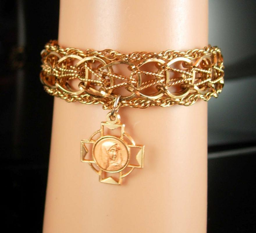 Gold filled Bracelet Religious bracelet vintage gold bracelet Virgin mary medal  12kt gold filled bracelet catholic cross charm