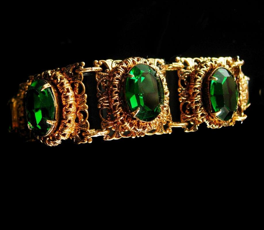 Vintage Czech bracelet Green bracelet gold filigree Rhinestone Bracelet costume jewelry Virgo March Birthday Irish Bracelet