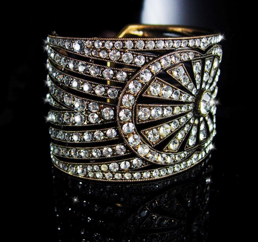 300 Rhinestone Cuff bracelet Art deco design Vintage Art deco Bracelet 10 Row Rhinestone cuff Antiqued brass 1 3/4