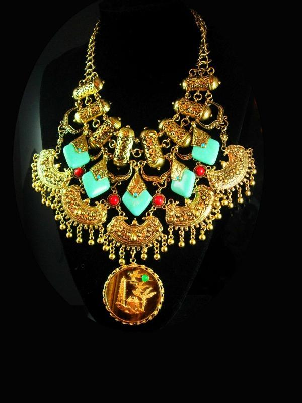 Statement Bib Necklace Exotic oriental collar Necklace Gypsy necklace turquoise bead tassel gold mesh chandelier choker