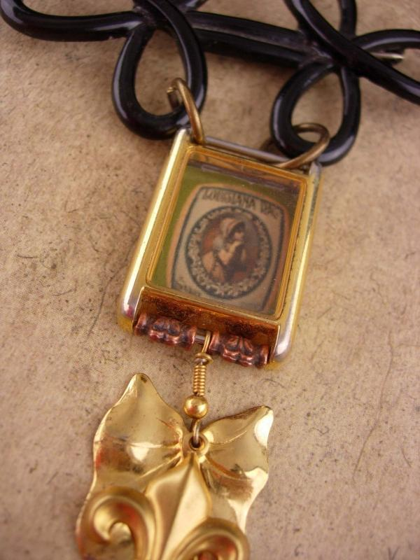 VIntage brooch 1897 Louisiana Rag music brooch assemblage charm watch fob brooch with miniature glass cased music