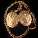 Vintage Cherub Locket Rose gold plate locket victorian angel locket watch chain Art Nouveau Locket