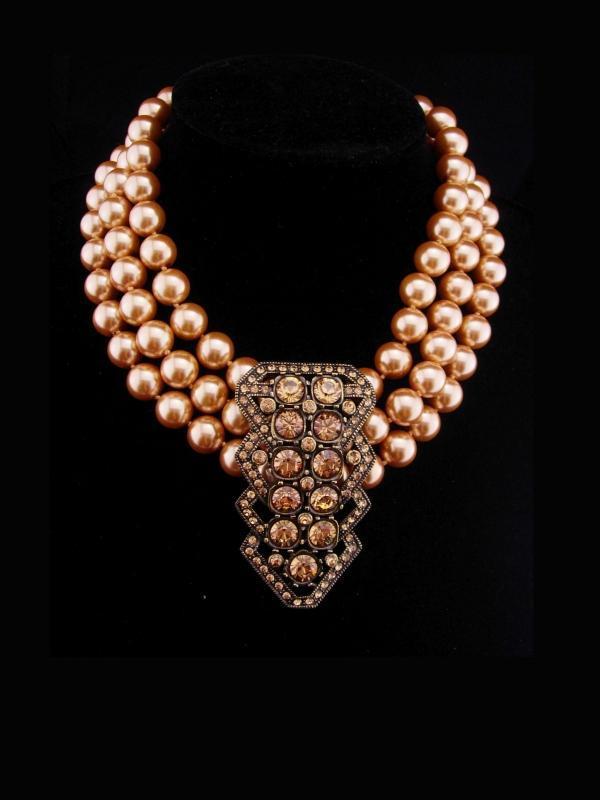 Statement necklace huge centerpiece Dramatic pave rhinestones LARGE pearls Vintage choker Heidi Daus