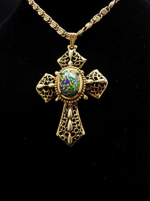 Medieval necklace Cross necklace Gothic Dragons EGG Glass gold Cross necklace