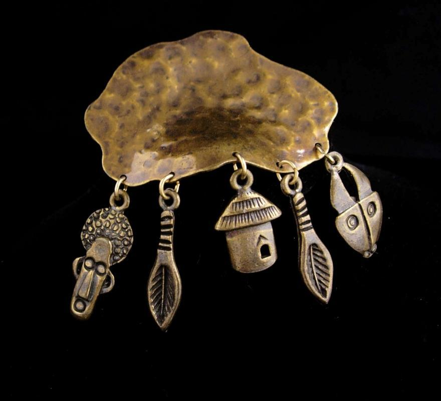 Primitive African Mask charm Brooch