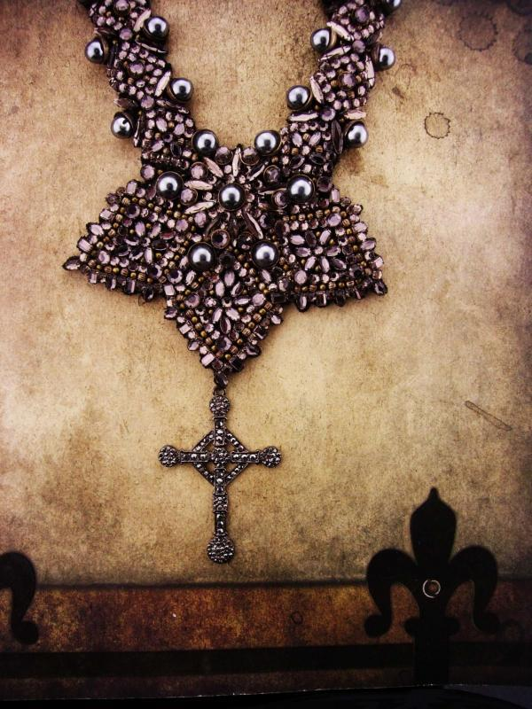 Hauntingly Dark Marcasite necklace Cross Bib necklace Huge Gothic statement necklace Victorian style