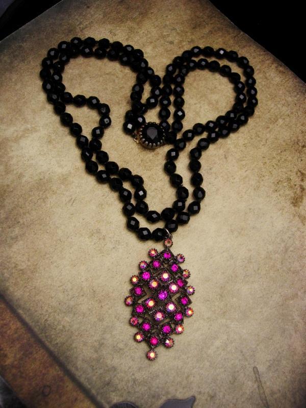 Goth Black glass necklace Fuschia pendant Purple rhinestone statement necklace large drop necklace 2 strand choker gothic jewelry