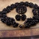 Vintage Victorian Revival necklace wrap bracelet earrings Black chunky necklace West Germany screw on earrings