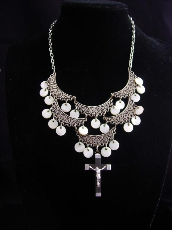 Rosary Necklace / gypsy choker / chandelier mother of pearl / bib necklace / Gothic Cross / vintage assemblage jewelry