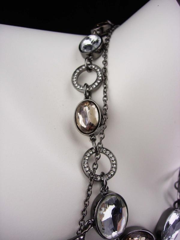Hauntingly Dark cross necklace  / Marcasite pendant / teardrop rhinestone statement necklace / Huge Gothic jewelry / vintage cross set