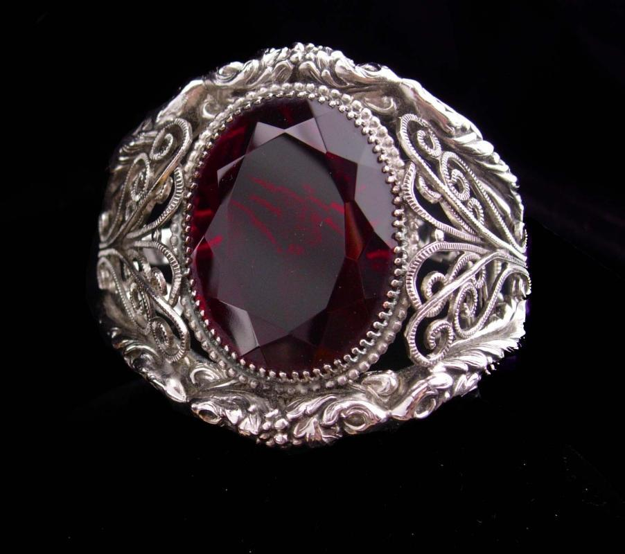 Whiting & Davis bracelet / HUGE red stone / Goddess bangle / Vintage signed jewelry / silver estate bracelet / costume jewelry / big cuff