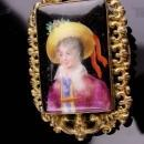 Antique portrait brooch / Vintage Austrian child / handpainted / Victorian jewelry / child with hat and flowers