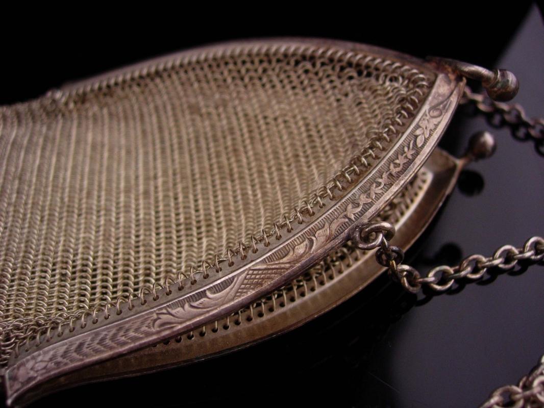 Silver Flapper purse / vintage Whiting & Davis mesh purse /  Art deco fringe  / Vintage chainmaille purse / cathedral frame / original  tag