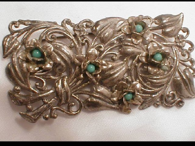 OLD Nouveau THICK Floral turquoise WIDE brooch