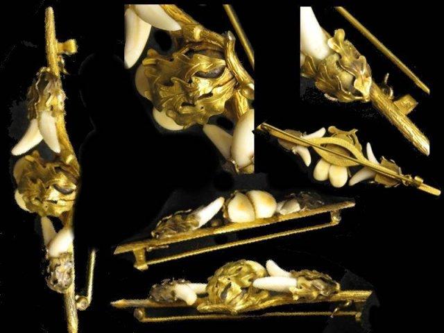 RARE 14KT GOLD PRe Civil war Aesthetic tooth brooch