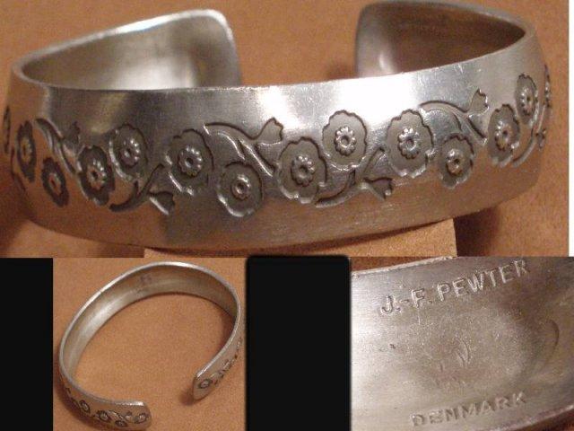 SIGNED DENMARK FLoral CUFF Bracelet