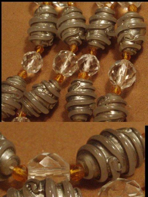 HUGE vintage LAMPWORK Scroll necklace