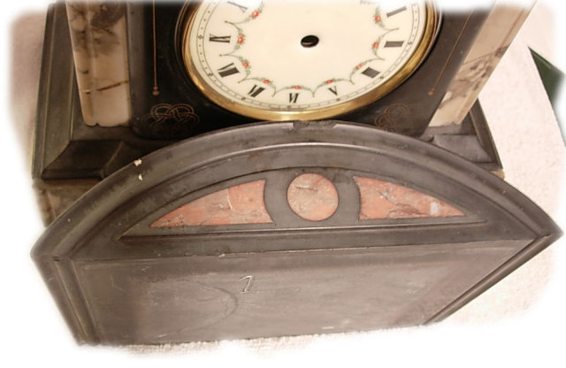 20's DECO MARBLE slate CLOCK with inset pieces