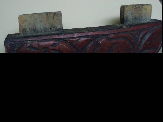 5 Antique CHINESE RED LAcQUER carved legs