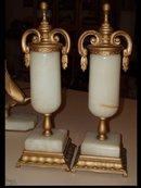 FABULOUS MARBLE Deco CLock & Sconce pair gilt