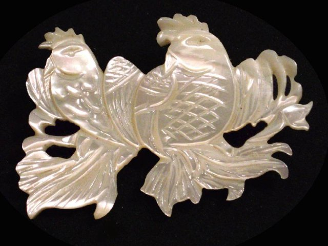 Antique carved MOTHER  PEARL Victorian brooch