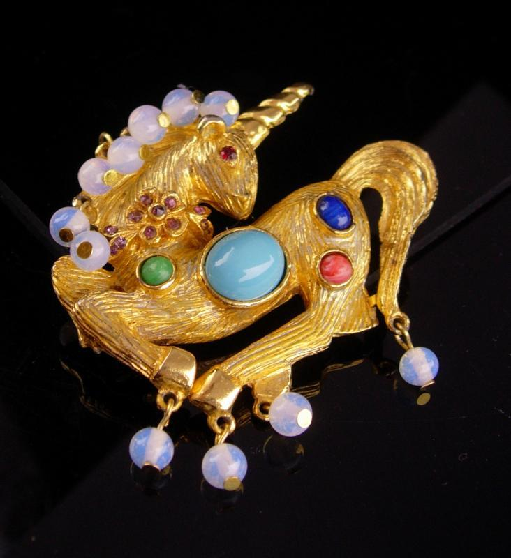 KJL Brooch / Vintage Unicorn pin / Fantasy collection / Mythological horse / FIGURAL 2 1/2 horse / faux moonstone drops/ rhinestone jewelry