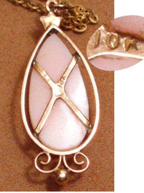Vintage Victorian Coral cameo 10kt GOLD drop necklace