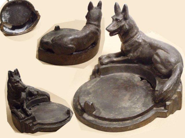 Antique Bronze German Shepherd snuff or tray