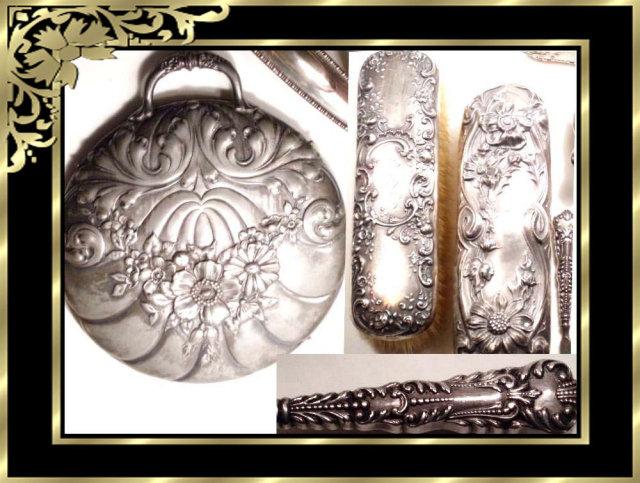1894 VIctorian STERLING Hallmarked Vanity SET