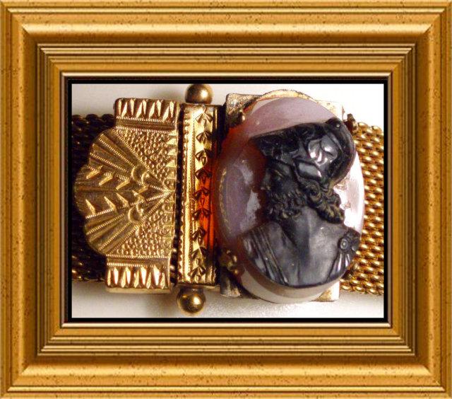 WIDE  victorian Cameo SLIDE FANCY Bracelet