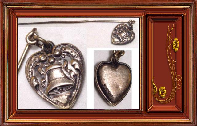 victorian PUFFED HEART CHARM FOb stickpin