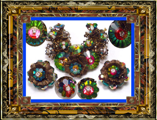 Vintage RARE RIVOLI  Brooch Earrings