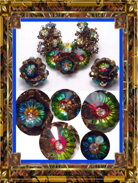 Vintage RARE RIVOLI Schreiner Brooch Earrings