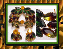 Vintage Schreiner Glass COLORFUL Brooch & ER