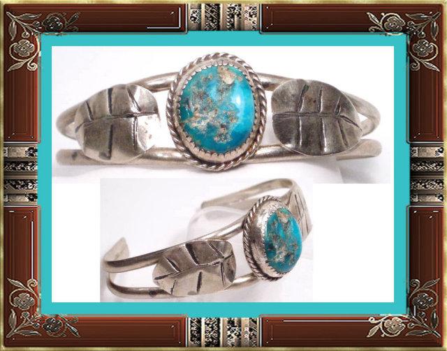 Vintage STERLING Signed Turquoise Bracelet