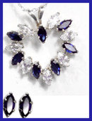 White gold Sapphire Diamond Necklace earrings