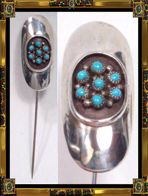 vintage Zuni sterling Turquoise BIG stickpin