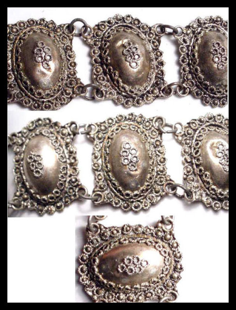 Exotic  Antique Etruscan silver Bracelet